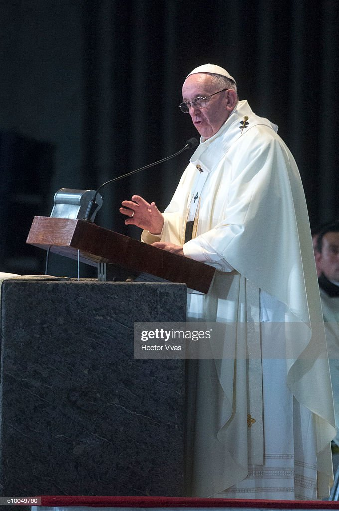 <a gi-track='captionPersonalityLinkClicked' href=/galleries/search?phrase=Pope+Francis&family=editorial&specificpeople=2499404 ng-click='$event.stopPropagation()'>Pope Francis</a> speaks during a mass for the people at Basilica de Guadalupe on February 13, 2016 in Mexico City, Mexico. <a gi-track='captionPersonalityLinkClicked' href=/galleries/search?phrase=Pope+Francis&family=editorial&specificpeople=2499404 ng-click='$event.stopPropagation()'>Pope Francis</a> is on a five days visit in Mexico from February 12 to 17 where he is expected to visit five states.