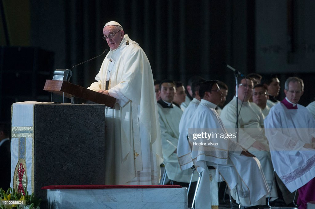 Pope Francis speaks during a mass for the people at Basilica de Guadalupe on February 13, 2016 in Mexico City, Mexico. Pope Francis is on a five days visit in Mexico from February 12 to 17 where he is expected to visit five states.