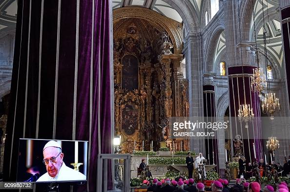 Pope Francis speaks during a meeting with Mexican bishops gathered in the Cathedral in Mexico City on February 13 2016 Pope Francis urged Mexican...