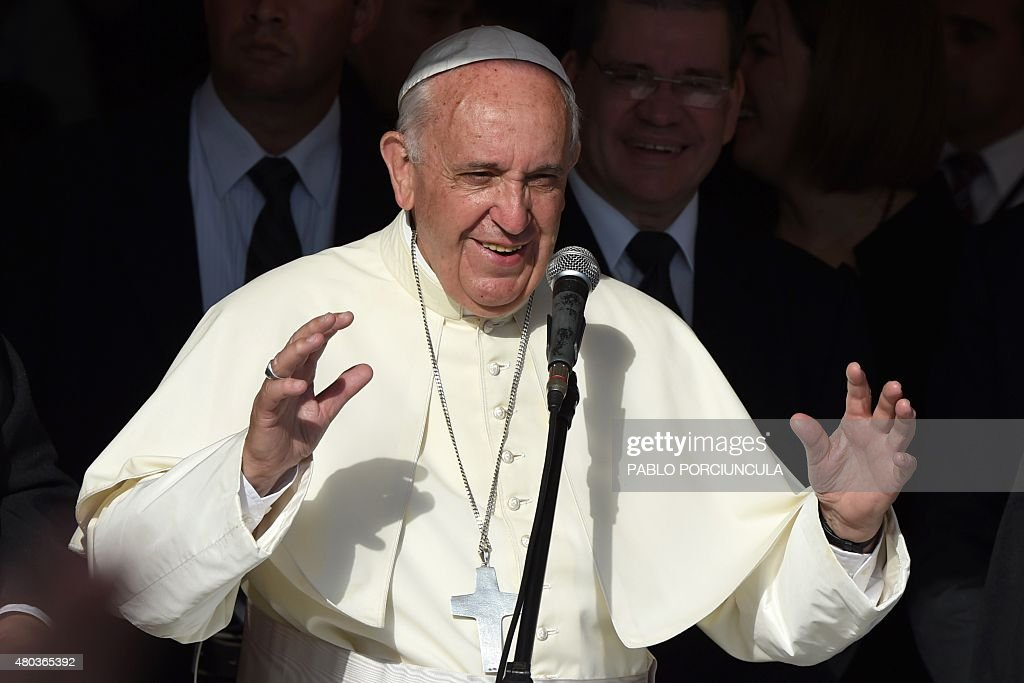 Pope Francis speaks during a visit to the Peadiatric Hospital in Asuncion Paraguay on July 11 2015 Pope Francis brought his message of equality to...