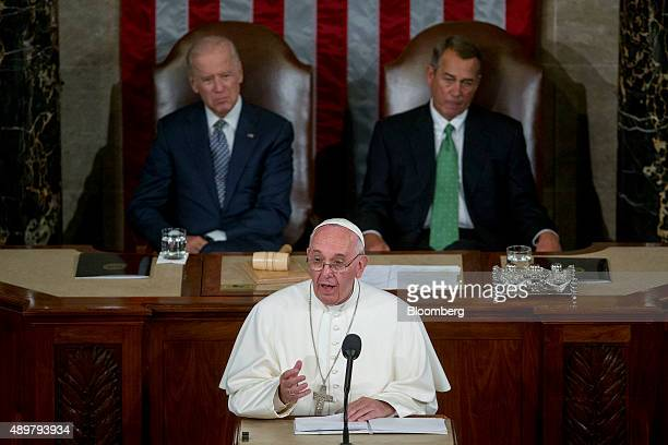 Pope Francis speaks to a joint meeting of Congress in the House Chamber at the US Capitol with US Vice President Joseph 'Joe' Biden top left and US...