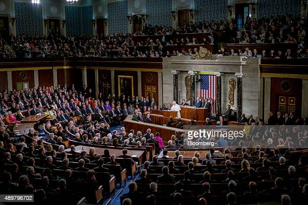 Pope Francis speaks to a joint meeting of Congress in the House Chamber at the US Capitol in Washington DC US on Thursday Sept 24 2015 Pope Francis...