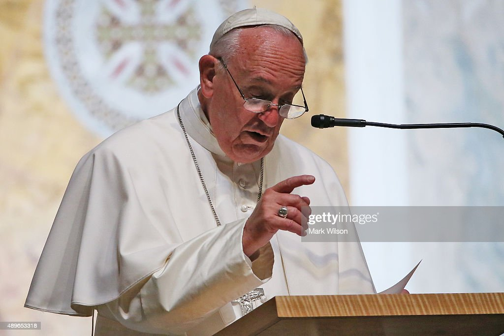 Pope Francis speaks to bishops during the midday prayer service at the Cathedral of St Matthew on September 23 2015 in Washington DC The Pope began...