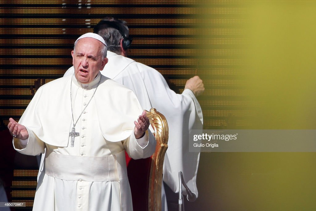 <a gi-track='captionPersonalityLinkClicked' href=/galleries/search?phrase=Pope+Francis&family=editorial&specificpeople=2499404 ng-click='$event.stopPropagation()'>Pope Francis</a> speaks to the Movement of the Holy Spirit Renewal at the Olympic Stadium on June 1, 2014 in Rome, Italy. It is the first ever papal visit to a stadium in the Italian capital. This celebration of faith, organised by the Renewal in the Spirit, has been attended by representatives of more than fifty countries and has involved moments of prayer, music and an address by the Holy Father.