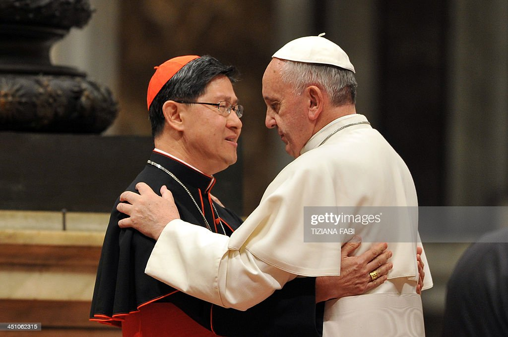 Pope Francis speaks with Filipino cardinal Luis Antonio Tagle during a ceremony to bless the new image of Holy Pedro Calungsod of Philippines at St...