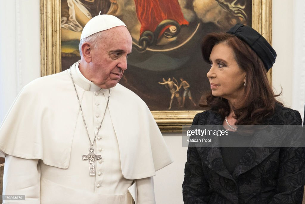 Pope Francis (L) stands with President of Argentina Cristina Fernandez de Kirchner at the Domus Santa Marta on March 17, 2014 in Vatican City, Vatican. The Argentinean leader had already met Pope Francis on two occasions, the first on March18, 2013, the day prior to the Mass for the Inauguration of his Pontificate in which she participated and the second on July 28, 2013, when she participated in the concluding Mass for World Youth Day in Rio de Janeiro.