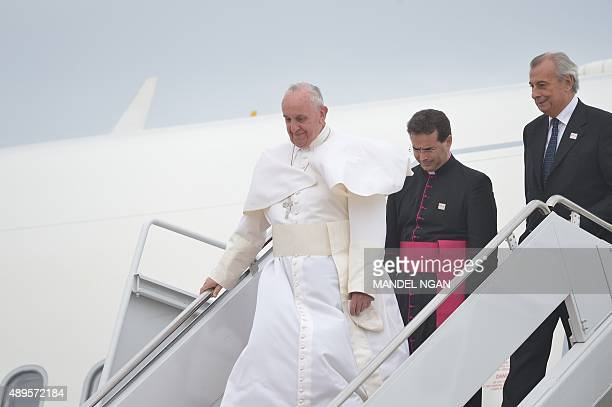 Pope Francis steps off his plane at Andrews Air Force Base in Maryland September 22 on the start of a 3day trip to Washington Pope Francis arrived in...