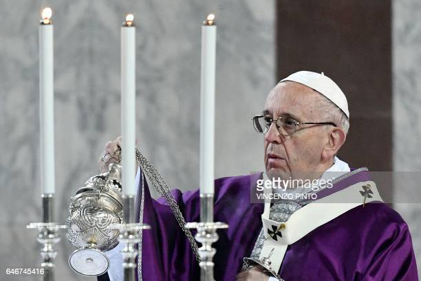 Pope Francis swings a censer during the Ash Wednesday mass opening Lent the fortyday period of abstinence and deprivation for Christians before Holy...