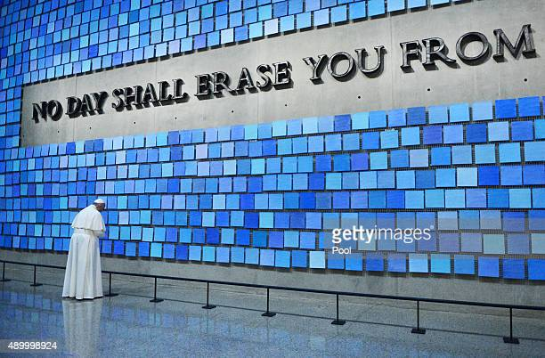 Pope Francis visits the 9/11 Memorial Museum in New York City and prays at 'Trying to Remember the Color of the Sky on That September Morning' by...