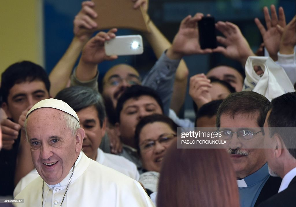 Pope Francis visits the Peadiatric Hospital in Asuncion Paraguay on July 11 2015 Pope Francis brought his message of equality to Paraguay Friday on...