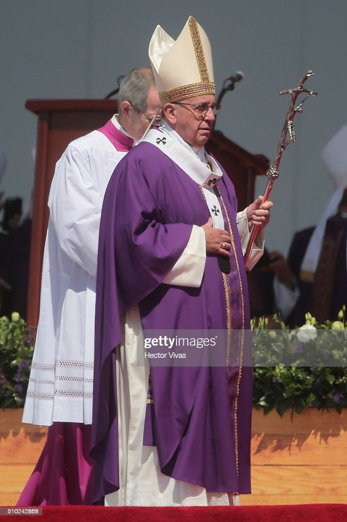 <a gi-track='captionPersonalityLinkClicked' href=/galleries/search?phrase=Pope+Francis&family=editorial&specificpeople=2499404 ng-click='$event.stopPropagation()'>Pope Francis</a> walks during a mass for the people at Ecatepec on February 14, 2016 in Ecatepec, Mexico. <a gi-track='captionPersonalityLinkClicked' href=/galleries/search?phrase=Pope+Francis&family=editorial&specificpeople=2499404 ng-click='$event.stopPropagation()'>Pope Francis</a> is on a five days visit in Mexico from February 12 to 17 where he is expected to visit five states.