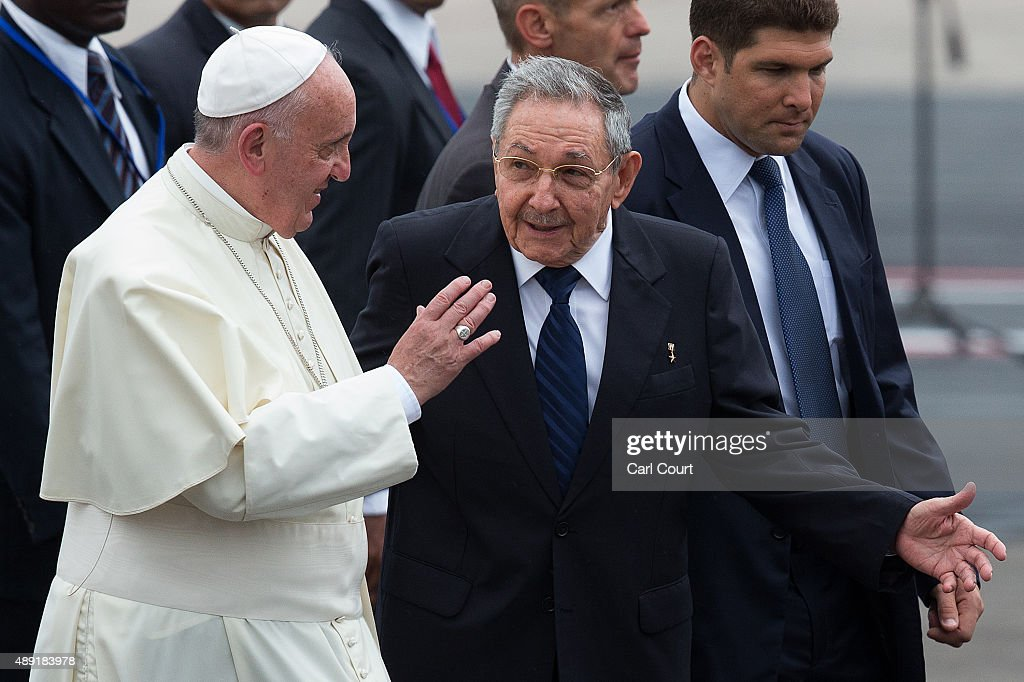 <a gi-track='captionPersonalityLinkClicked' href=/galleries/search?phrase=Pope+Francis&family=editorial&specificpeople=2499404 ng-click='$event.stopPropagation()'>Pope Francis</a> walks with Cuba's President <a gi-track='captionPersonalityLinkClicked' href=/galleries/search?phrase=Raul+Castro&family=editorial&specificpeople=239452 ng-click='$event.stopPropagation()'>Raul Castro</a> (R) as he arrives at Jose Marti International Airport on September 19, 2015 in Havana, Cuba. <a gi-track='captionPersonalityLinkClicked' href=/galleries/search?phrase=Pope+Francis&family=editorial&specificpeople=2499404 ng-click='$event.stopPropagation()'>Pope Francis</a> is at the beginning of a three day visit to Cuba where he will meet President <a gi-track='captionPersonalityLinkClicked' href=/galleries/search?phrase=Raul+Castro&family=editorial&specificpeople=239452 ng-click='$event.stopPropagation()'>Raul Castro</a> and hold Mass in Revolution Square before travelling to Holguin, Santiago de Cuba and El Cobre then onwards to the United States.