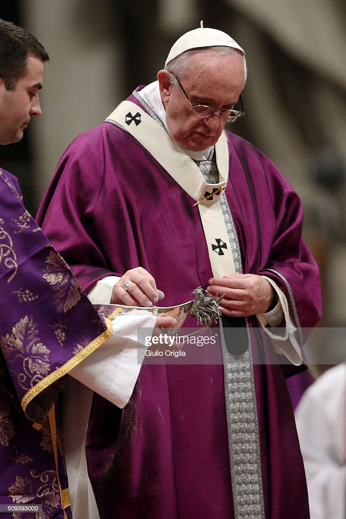 <a gi-track='captionPersonalityLinkClicked' href=/galleries/search?phrase=Pope+Francis&family=editorial&specificpeople=2499404 ng-click='$event.stopPropagation()'>Pope Francis</a> washes the ash from his hands as he celebrates Ash Wednesday Mass at St. Peter's Basilica on February 10, 2016 in Vatican City, Vatican. Ash Wednesday opens the liturgical 40 day period of Lent; encouraging prayer, fasting, penitence and alms giving, leading up to Easter. The Pontiff will leave on Friday for Cuba and Mexico where he will hold an unprecedented meeting with Patriarch Kirill of Moscow and All Russia on February 12th.