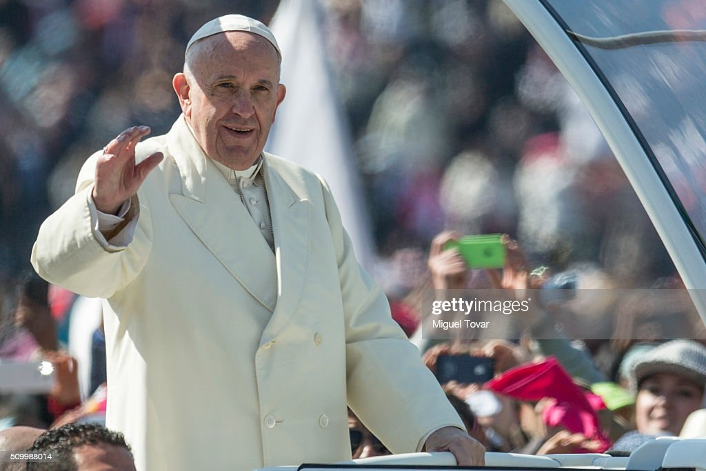 <a gi-track='captionPersonalityLinkClicked' href=/galleries/search?phrase=Pope+Francis&family=editorial&specificpeople=2499404 ng-click='$event.stopPropagation()'>Pope Francis</a> waves as he arrives at Zocalo main square on February 13, 2016 in Mexico City, Mexico. <a gi-track='captionPersonalityLinkClicked' href=/galleries/search?phrase=Pope+Francis&family=editorial&specificpeople=2499404 ng-click='$event.stopPropagation()'>Pope Francis</a> will be on a five days visit in Mexico from February 12 to 17 where he is expected to visit five states.