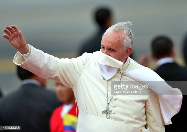 Pope Francis waves at the airport in Quito before his departure for Bolivia on July 8 2015 Pope Francis the first Latin American pontiff heads...