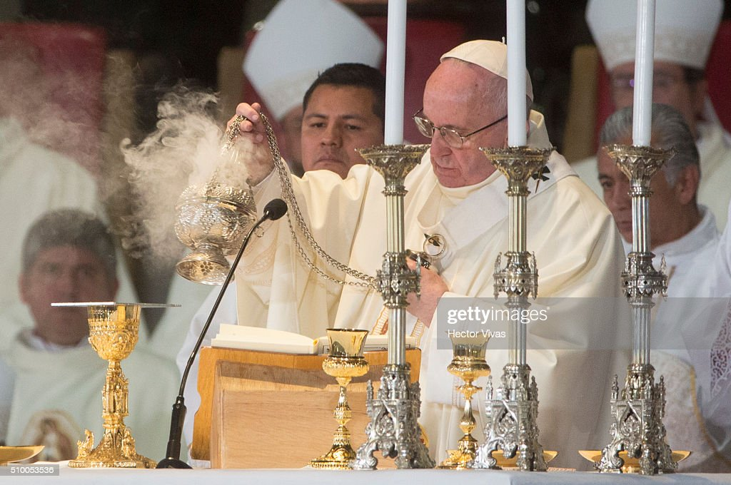 <a gi-track='captionPersonalityLinkClicked' href=/galleries/search?phrase=Pope+Francis&family=editorial&specificpeople=2499404 ng-click='$event.stopPropagation()'>Pope Francis</a> waves the censer during a mass for the people at Basilica de Guadalupe on February 13, 2016 in Mexico City, Mexico. <a gi-track='captionPersonalityLinkClicked' href=/galleries/search?phrase=Pope+Francis&family=editorial&specificpeople=2499404 ng-click='$event.stopPropagation()'>Pope Francis</a> is on a five days visit in Mexico from February 12 to 17 where he is expected to visit five states.