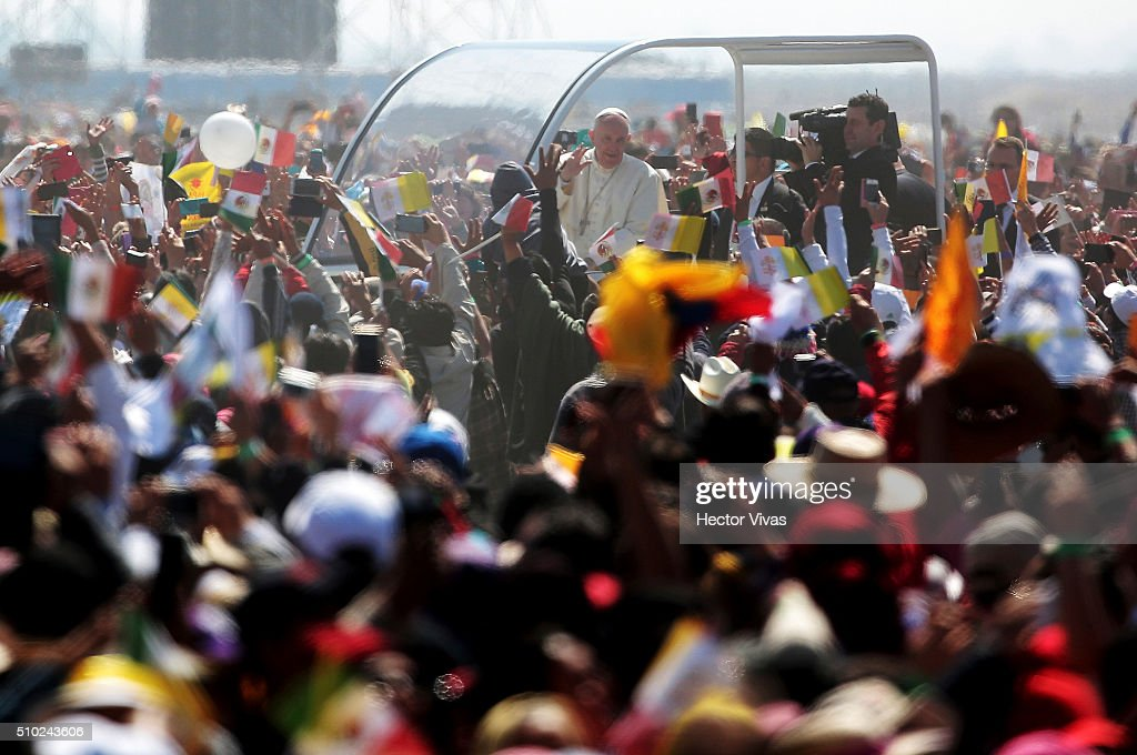 <a gi-track='captionPersonalityLinkClicked' href=/galleries/search?phrase=Pope+Francis&family=editorial&specificpeople=2499404 ng-click='$event.stopPropagation()'>Pope Francis</a> waves the crowd from the popemobile at Ecatepec on February 14, 2016 in Ecatepec, Mexico. <a gi-track='captionPersonalityLinkClicked' href=/galleries/search?phrase=Pope+Francis&family=editorial&specificpeople=2499404 ng-click='$event.stopPropagation()'>Pope Francis</a> is on a five days visit in Mexico from February 12 to 17 where he is expected to visit five states.