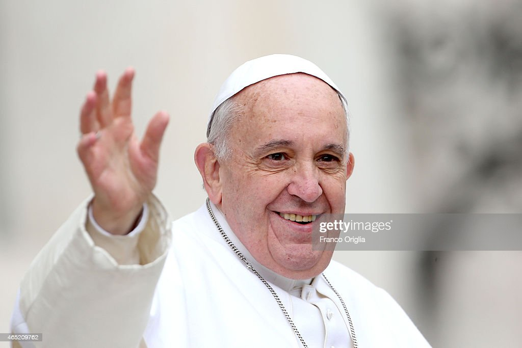 Pope Francis waves to faithful and pilgrims as he arrives in St. Peter's Square for his weekly audience on March 4, 2015 in Vatican City, Vatican. Speaking to the crowds gathered in St Peter's Square for the weekly General Audience the Pope continued in his series of teachings on the family, focusing this time on the role of grandparents.