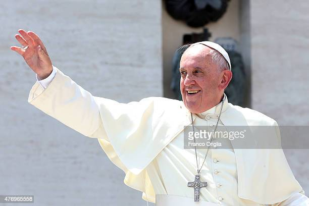 Pope Francis waves to the boy scouts gathered in St Peter's Square on June 13 2015 in Vatican City Vatican Pontiff met this morning with thousands of...