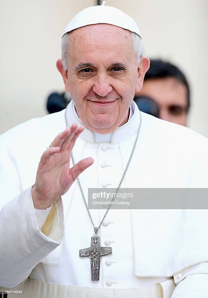 <a gi-track='captionPersonalityLinkClicked' href=/galleries/search?phrase=Pope+Francis&family=editorial&specificpeople=2499404 ng-click='$event.stopPropagation()'>Pope Francis</a> waves to the crowd as he drives around St Peter's Square ahead of his first weekly general audience as pope on March 27, 2013 in Vatican City, Vatican. <a gi-track='captionPersonalityLinkClicked' href=/galleries/search?phrase=Pope+Francis&family=editorial&specificpeople=2499404 ng-click='$event.stopPropagation()'>Pope Francis</a> held his weekly general audience in St Peter's Square today