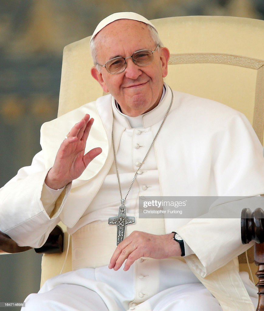 <a gi-track='captionPersonalityLinkClicked' href=/galleries/search?phrase=Pope+Francis&family=editorial&specificpeople=2499404 ng-click='$event.stopPropagation()'>Pope Francis</a> waves to the crowd during his first weekly general audience as pope on March 27, 2013 in Vatican City, Vatican. <a gi-track='captionPersonalityLinkClicked' href=/galleries/search?phrase=Pope+Francis&family=editorial&specificpeople=2499404 ng-click='$event.stopPropagation()'>Pope Francis</a> held his weekly general audience in St Peter's Square today