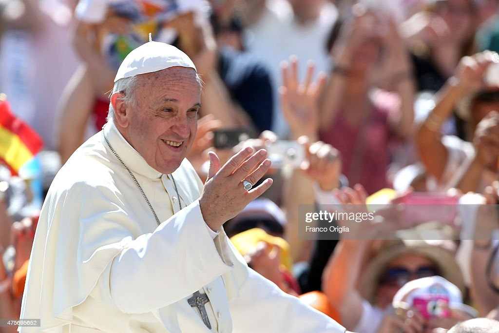 <a gi-track='captionPersonalityLinkClicked' href=/galleries/search?phrase=Pope+Francis&family=editorial&specificpeople=2499404 ng-click='$event.stopPropagation()'>Pope Francis</a> waves to the faithful as he arrives in St. Peter's square for his weekly audience on June 3, 2015 in Vatican City, Vatican. Speaking during the weekly General Audience, the Pope continued his catechesis on the family opening up his reflections to a new perspective: the difficulties and problems that put families to the test in modern society.