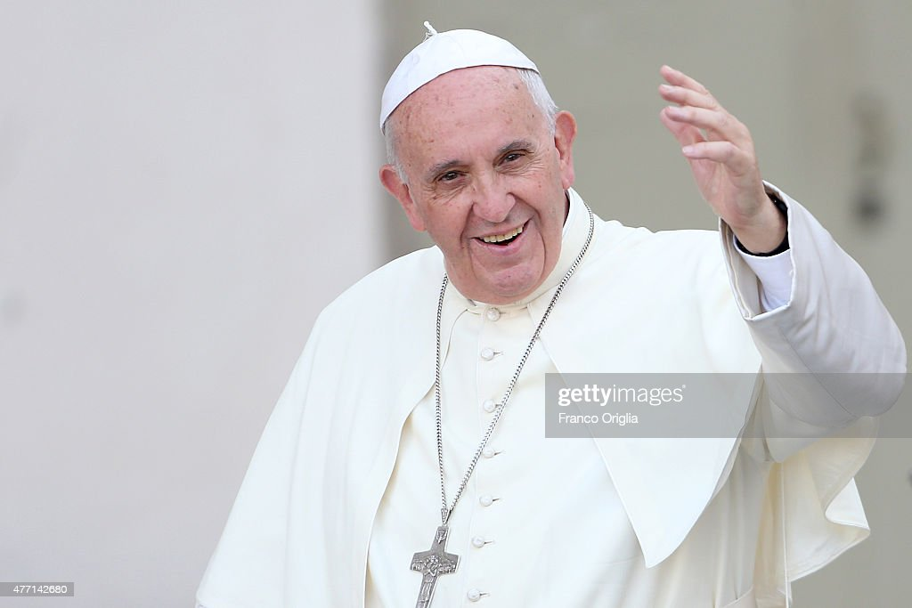 <a gi-track='captionPersonalityLinkClicked' href=/galleries/search?phrase=Pope+Francis&family=editorial&specificpeople=2499404 ng-click='$event.stopPropagation()'>Pope Francis</a> waves to the faithful as he arrives in St. Peter's Square for a meeting with the Roman Diocesans on June 14, 2015 in Vatican City, Vatican. The Pontiff invited everyone to pay attention to environmental issues during his Sunday Angelus blessing. His upcoming encyclical 'Laudato Sii' on the environment will be launched at a Vatican on Thursday.