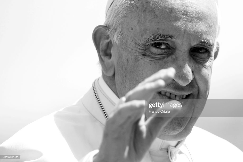 Pope Francis waves to the faithful as he arrives in St. Peter's Square for a Jubilee Audience on April 30, 2016 in Vatican City, Vatican. Pope Francis on Saturday held an extraordinary Jubilee Audience in St. Peter's Square for thousands of eager pilgrims. The Audience also celebrated the Jubilee for members of the police and armed forces.