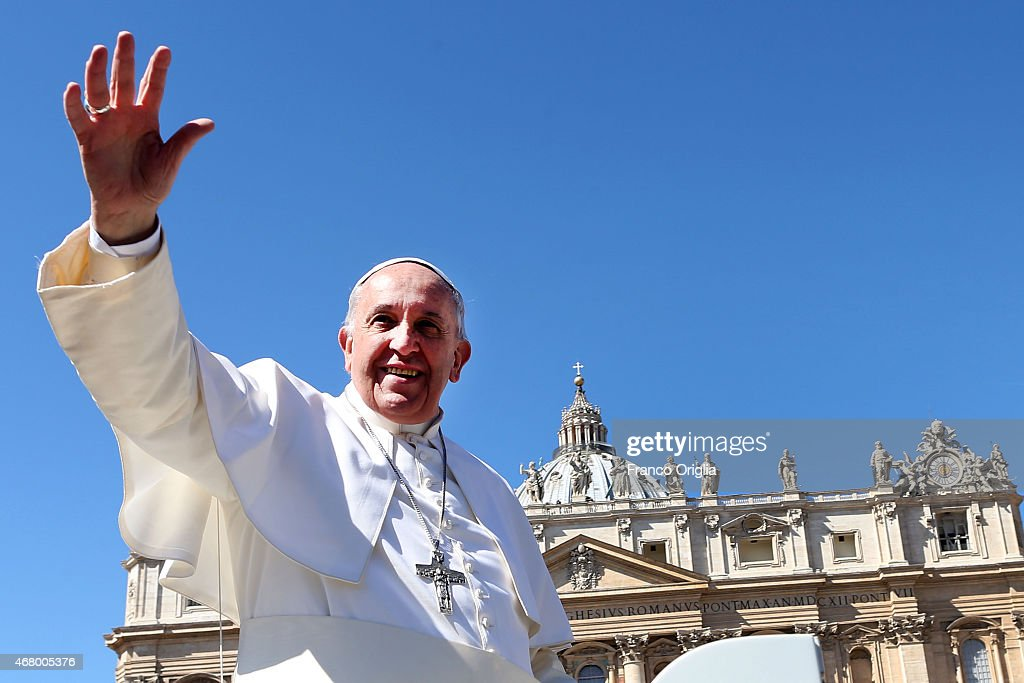 <a gi-track='captionPersonalityLinkClicked' href=/galleries/search?phrase=Pope+Francis&family=editorial&specificpeople=2499404 ng-click='$event.stopPropagation()'>Pope Francis</a> waves to the faithful as he leaves St. Peter's Square at the the end of Palm Sunday Mass on March 29, 2015 in Vatican City, Vatican. On Palm Sunday Christians celebrate Jesus' arrival into Jerusalem, where he was put to death. It marks the official beginning of Holy Week during which Christians observe the death of Christ before celebrations begin on Easter.