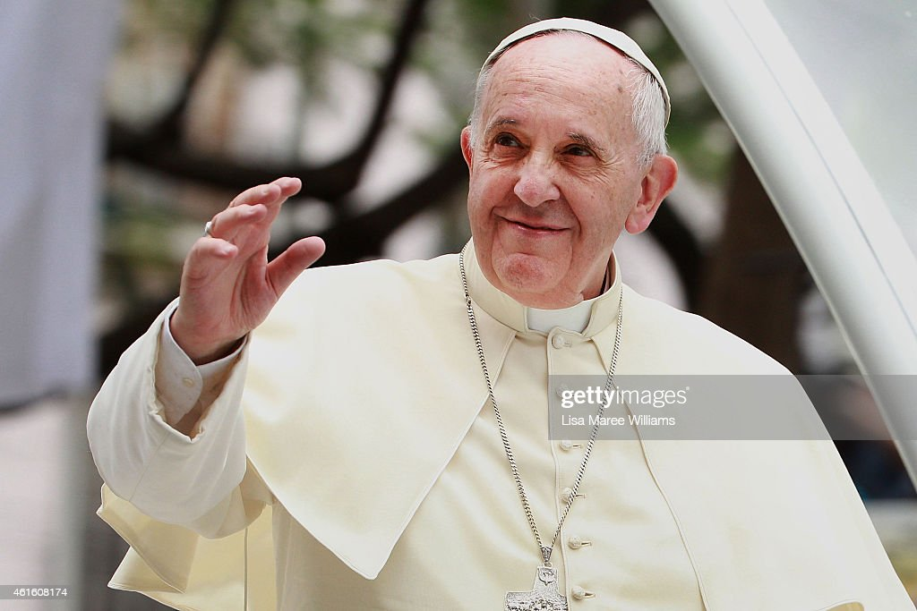<a gi-track='captionPersonalityLinkClicked' href=/galleries/search?phrase=Pope+Francis&family=editorial&specificpeople=2499404 ng-click='$event.stopPropagation()'>Pope Francis</a> waves to thousands of followers as he arrives at the Manila Cathedral on January 16, 2015 in Manila, Philippines. <a gi-track='captionPersonalityLinkClicked' href=/galleries/search?phrase=Pope+Francis&family=editorial&specificpeople=2499404 ng-click='$event.stopPropagation()'>Pope Francis</a> will visit venues across Leyte and Manila during his visit to the Philippines from January 15 - 19. The visit is expected to attract crowds in the millions as Filipino Catholics flock to catch a glimpse of the leader of the Catholic Church in the Philippines for the first time since 1995. The Pope will begin the tour in Manila, then travelling to Tacloban to visit areas devastated by Typhoon Haiyan before returning to Manila to hold a mass at Rizal Park. The Philippines is the only Catholic majority nation in Asia with around 90 percent of the population professing the faith.