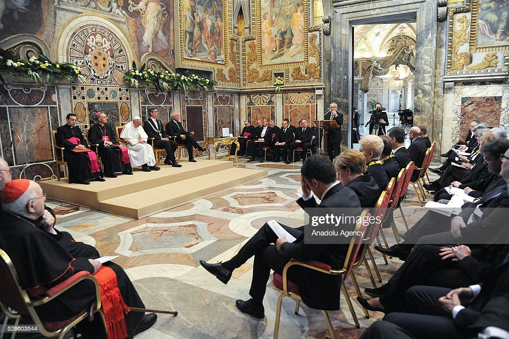Pope Francis who has been awarded the Charlemagne Prize 2016 speaks during the award ceremony at the Sala Regia (Regal Room) in Vatican City on May 06, 2016.