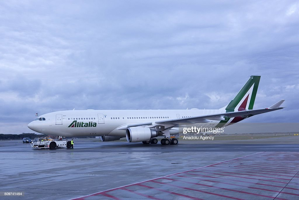 Pope Francis's airplane which boards to Cuba, where he is scheduled to meet Russian Orthodox Patriarch Kirill, before to continue for a week-long trip to Mexico, is seen at Rome's Fiumicino international airport on 12 February 2016.