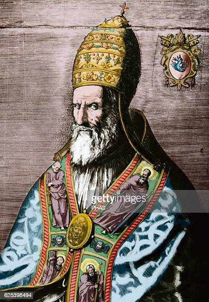 Pope Gregory XIII Born Ugo Boncompagni Pope from 15721585 Portrait Engraving Colored