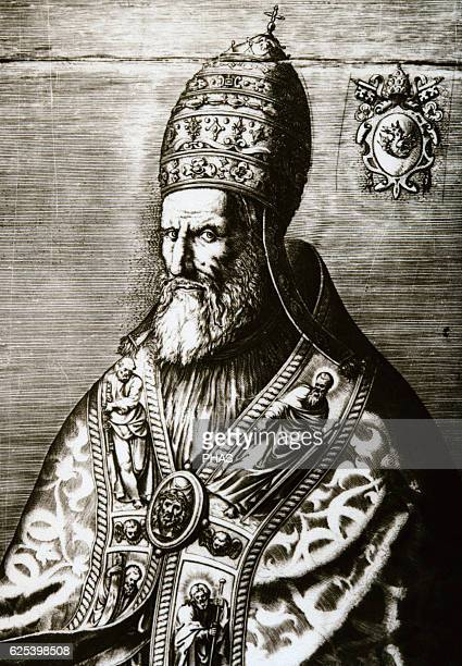 Pope Gregory XIII Born Ugo Boncompagni Pope from 15721585 Portrait Engraving