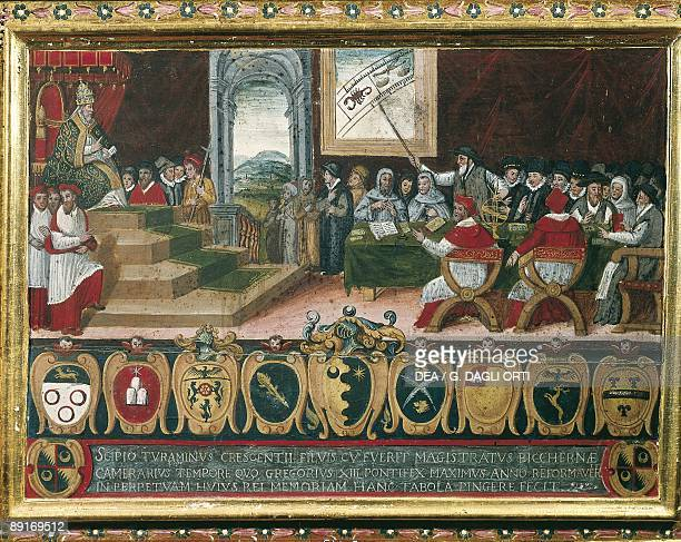 Pope Gregory XIII chairing the commission for reforming Roman Calendar illustration
