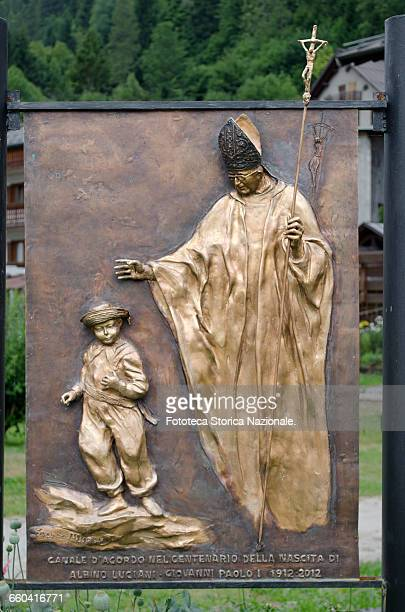 Pope John Paul I born Albino Luciani bronze monument by Franco Murer part of the installation of the memorial made for the birth centennial of Albino...
