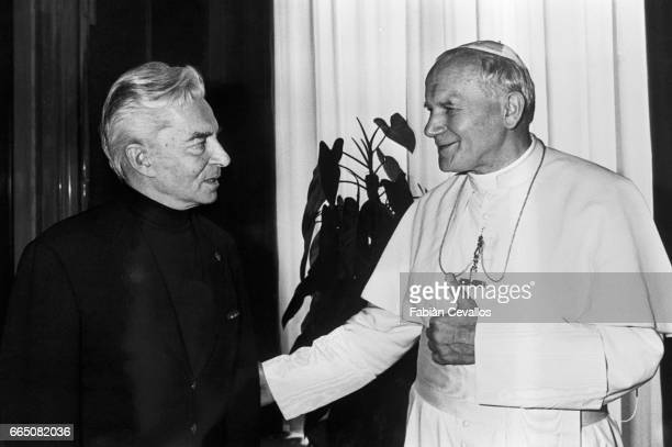 Pope John Paul II and conductor Herbert von Karajan in Saint Peter's Basilica for a rendition of Mozart's Coronation Mass
