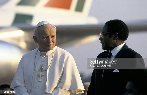 Pope John Paul II and Zimbabwe President Robert Mugabe in Harare Zimbabwe on September 12th 1988