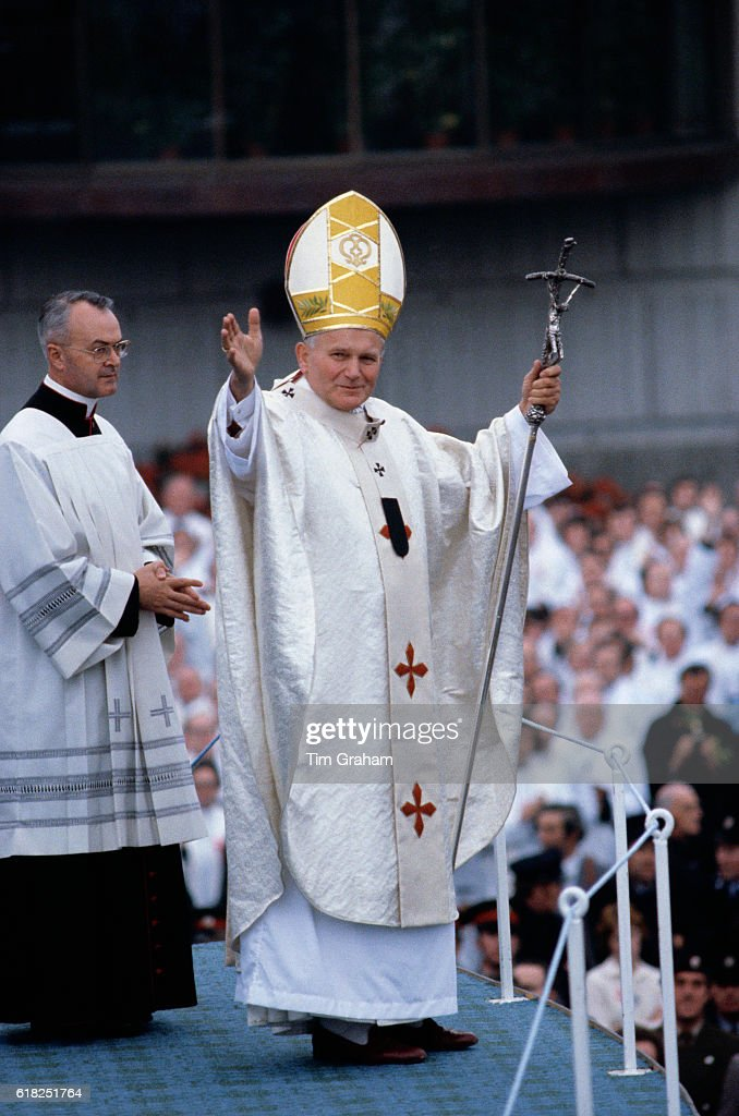 Pope John Paul II celebrates Mass in Knock, Ireland. Catholic religion Religious leaders Faith Belief Staff Mitre Catholicism