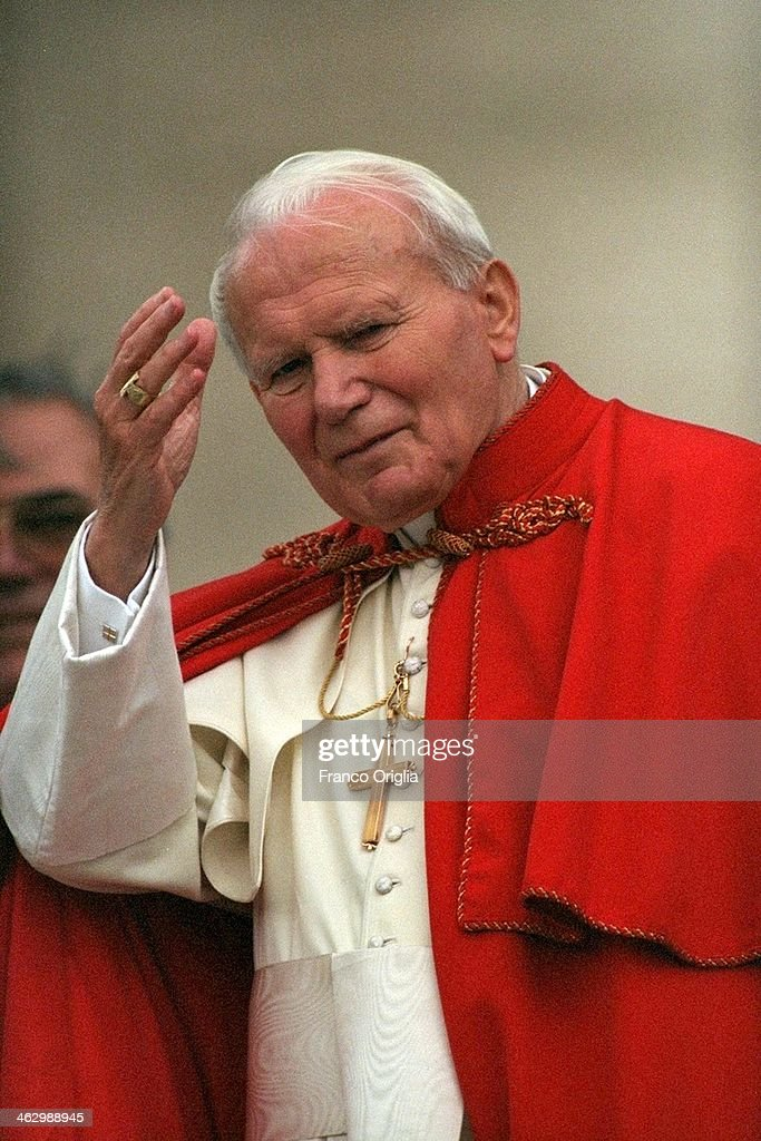 Pope John Paul II delivers his blessing to the faithful in St. Peter's Square on October 5, 1996 in Vatican City, Vatican.