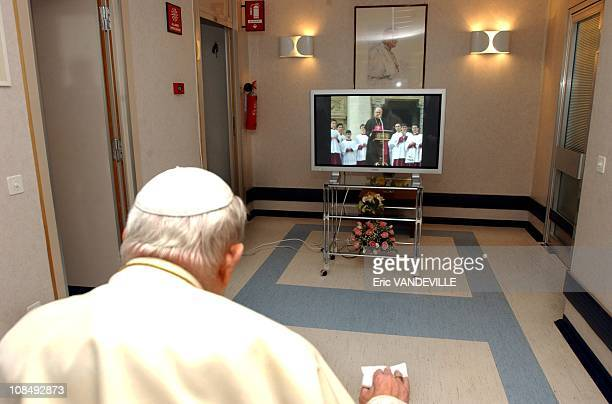 Pope John Paul II greanded pilgrims in a raspy voice Sunday his first live address to the faithful since he underwent throat surgery to ease his...