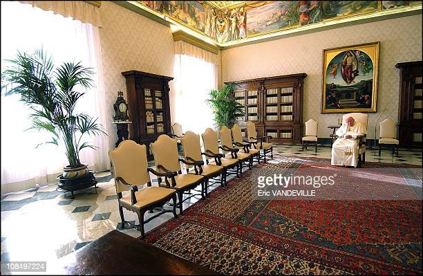 Pope John Paul II in the private library in Rome Vatican City on December 18 2004