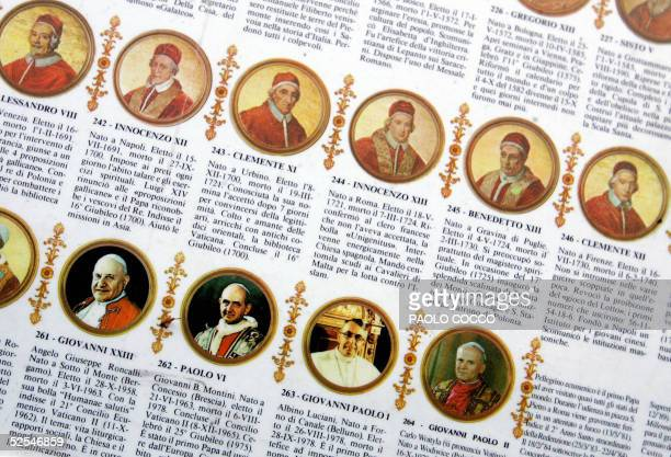Pope John Paul II is seen with his predecessors in a tourist stamp on sale in St Peter's Square at the Vatican 01 April 2005 Pope John Paul II is...