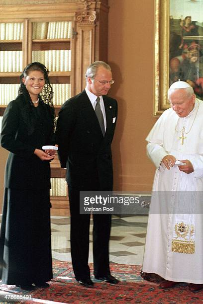 Pope John Paul II meets Crown Princess Victoria of Sweden and King Carl XVI Gustaf of Sweden at his private library in the Apostolic Palace on...