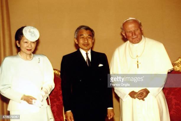 Pope John Paul II meets Emperor Akihito and Empress Michiko of Japan at his summer residence on September 3 1993 in Castel Gandolfo Italy