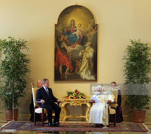 Pope John Paul II meets US President George W Bush at his summer residence on July 23 2001 in Castel Gandolfo Italy