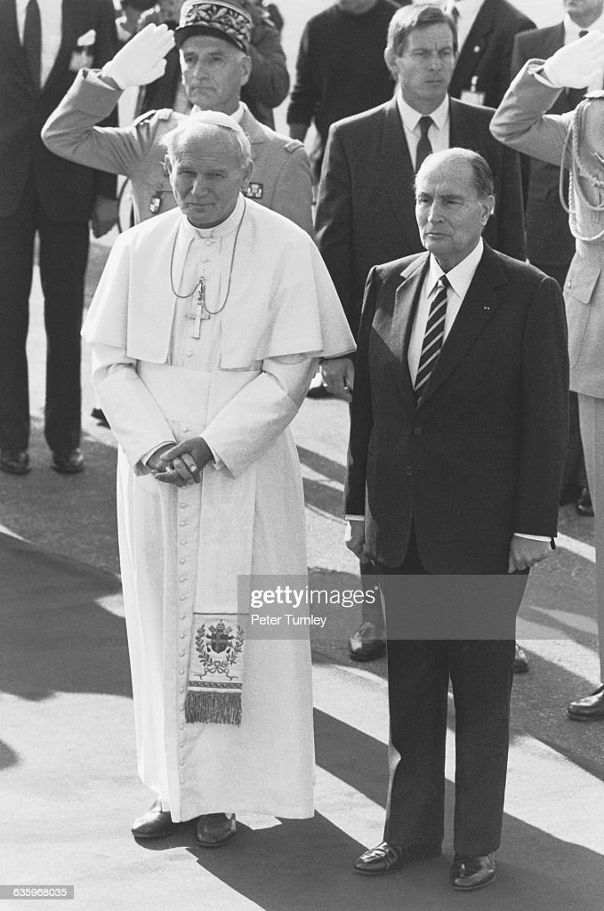 <a gi-track='captionPersonalityLinkClicked' href=/galleries/search?phrase=Pope+John+Paul+II&family=editorial&specificpeople=92369 ng-click='$event.stopPropagation()'>Pope John Paul II</a> meets with French President <a gi-track='captionPersonalityLinkClicked' href=/galleries/search?phrase=Francois+Mitterrand&family=editorial&specificpeople=208938 ng-click='$event.stopPropagation()'>Francois Mitterrand</a> in Paris.