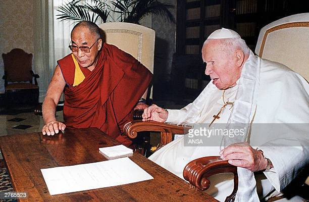 Pope John Paul II met the exiled Tibetan spiritual leader the Dalai Lama at the Vatican 27 November 2003 for talks which focused exclusively on...