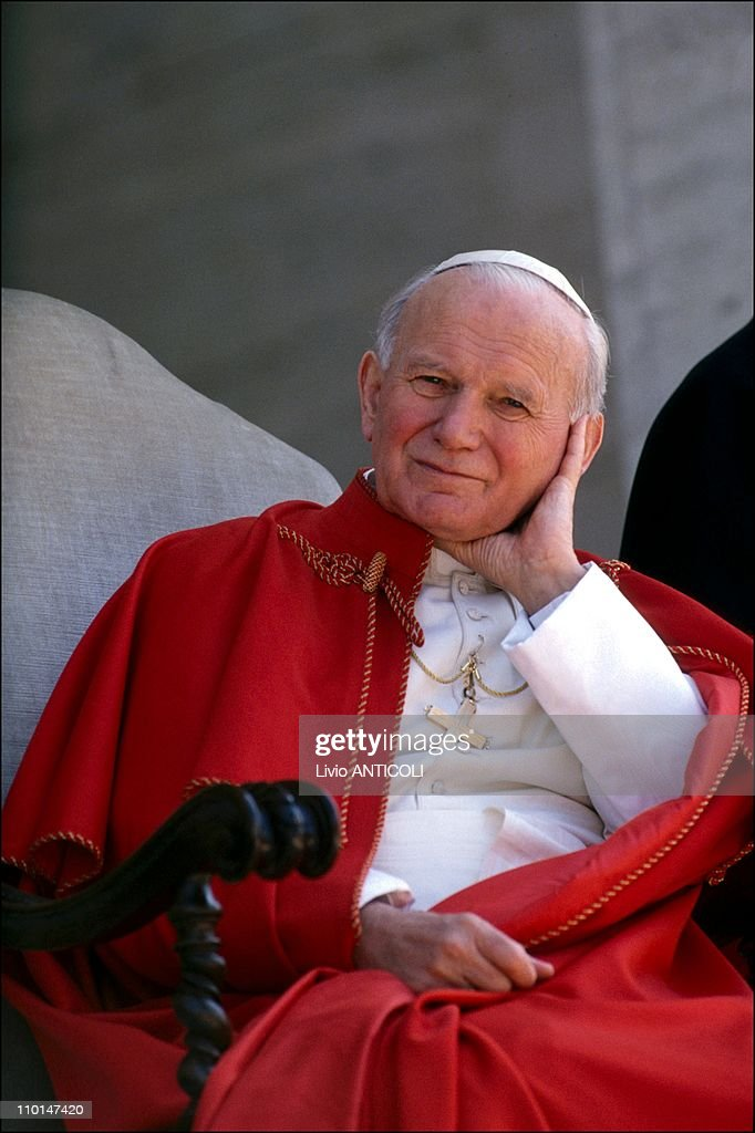 Pope John Paul II visits university 'La Sapienza' in Rome, Italy on April 19, 1991.