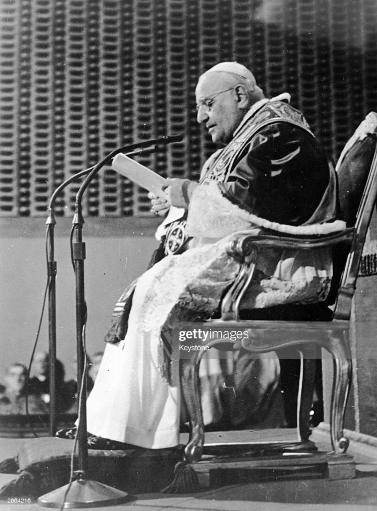 Pope John XXIII delivering a message to the world appealing for peace from his summer residence at Castelgandolfo.